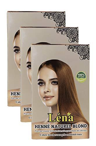Blondes henna, haarfarbe, haarpflege, pflanzenhaarfarbe, weiße haare bedecken und 100% natürlich - Pack 3 X 100 g