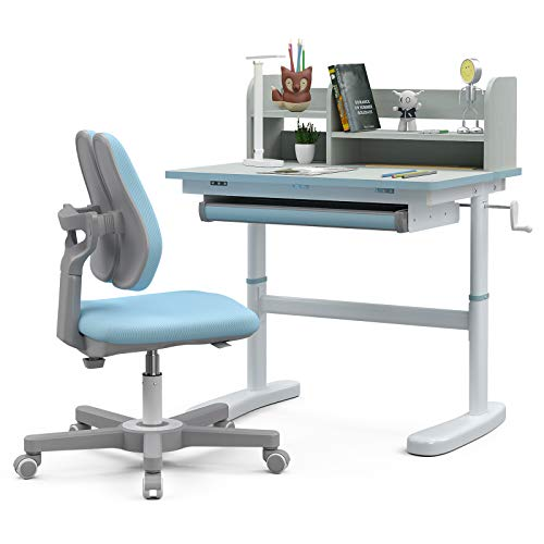 mecor Height Adjustable Kids Desk and Chair Set, Children Table for School Students with LED Light, Bookshelf, and Rotary Chair with Ergonomic Design (Blue)