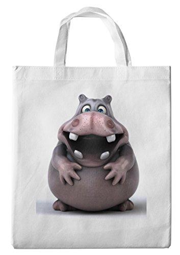 Merchandise for Fans Einkaufstasche- 38x42cm, 8 Liter - Motiv: 3D Comic Nilpferd - 01