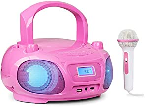 AUNA Roadie Sing - CD Radio, Portable Karaoke, Stereo System, Boombox, CD Player, USB Port, MP3, FM Radio Tuner, Bluetooth 3.0, LED Lighting, Mains and Battery Operation, Sing-A-Long Function, Pink