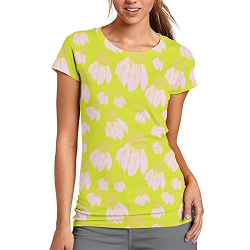 Damen-T-Shirt mit rosafarbenen Blumen, kurzärmelig, Rundhalsausschnitt, Bluse, bequem, Polyester, weiß, Large