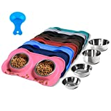 Hubulk Pet Dog Bowls 2 Stainless Steel Dog Bowl with No...