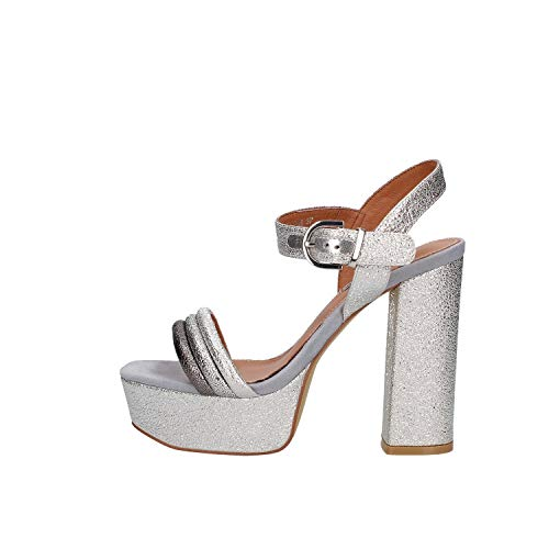 LUCIANO BARACHINI Cc212b Chaussures à Talons avec Plateau Femme Argent 40