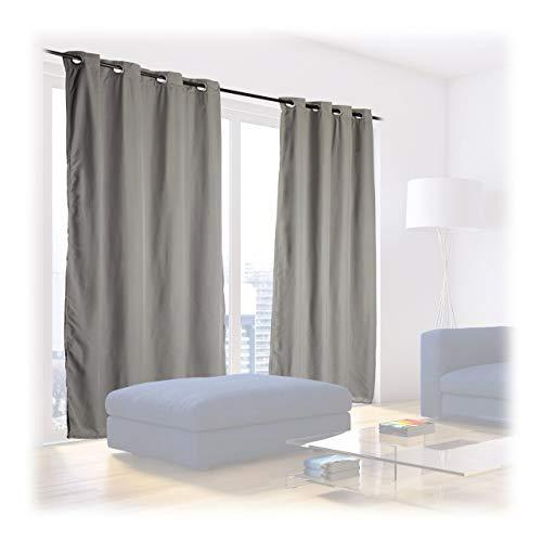 Relaxdays, grau Verdunklungsvorhänge, 2er Set, Thermovorhang mit Ösen, Kälte-und Hitzeschutz, Thermogardine 135x245 cm, Standard