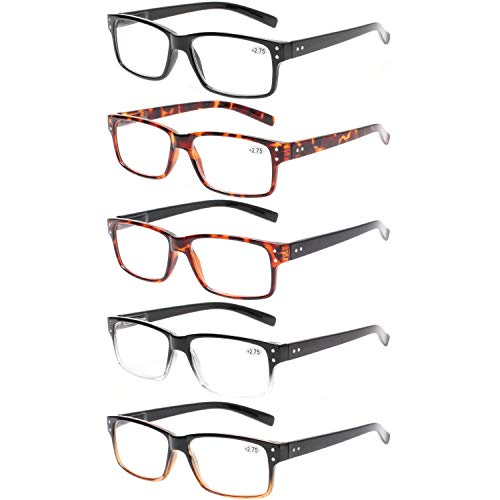 Reading Glasses 5 Pairs Quality Readers Spring Hinge Glasses for Reading for Men and Women (5 Pack Mix Color, 2.00)