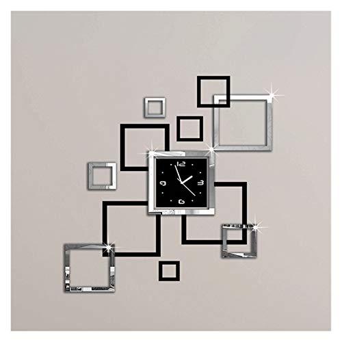 Fylsdes Wanduhr Wanduhren 3D-Aufkleber Mode Moderne Quarz-Uhr, Schwarze Uhrenkunst-freies Verschiffen