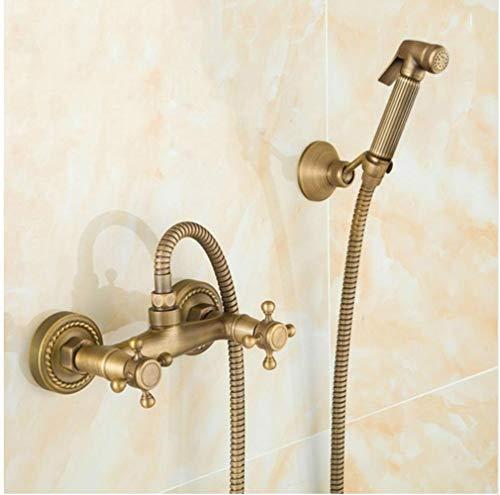 Bidet latón antiguo tubo sólido fría y mezclador de agua caliente de la ducha con cabezal de ducha bidé Doble manija del grifo de la grúa 9271F, Estilo B