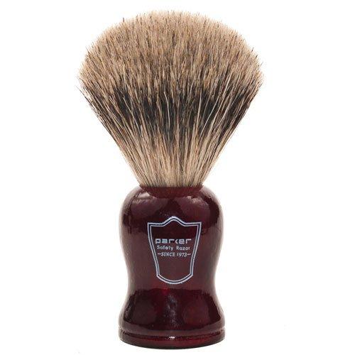 Parker Safety Razor Prime à la main Long Loft 100% Blaireau Pur Brosse à raser avec poignée en bois de rose - Brosse Support fourni