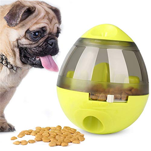 XDgrace Dog Treat Dispenser Ball Toy, Interactive Puzzle Treat Ball for Dogs & Cats, Increases IQ and Mental Stimulation, Tumbler Design Easy to Clean (Green)