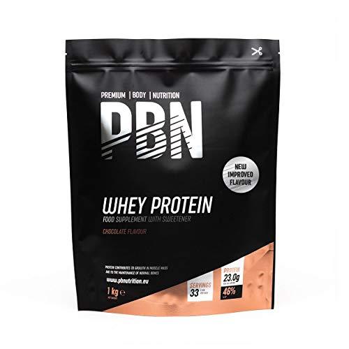 PBN - Premium Body Nutrition Siero di Latte in Polvere, 1 Kg, Sapore di Cioccolato, Gusto Ottimizzato