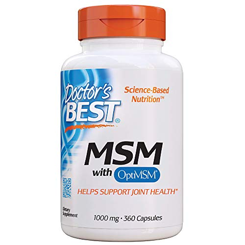 Doctor's Best MSM with OptiMSM, Joint Support, Immune System, Antioxidant and Protein-Building Role, Non-GMO, Gluten Free, 1000 mg, 360Tablets