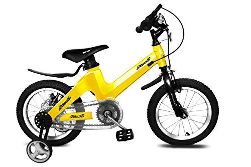 NiceC BMX Kids Bike with Dual Disc Brake for Boy and Girl 12-14-16-18 inch Training Wheels (Lemon Yellow, 16 inch)