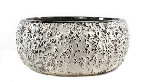 DARO DEKO Keramik Pflanz-Gefäß rund weiß-Silber Ø 31cm x 14cm