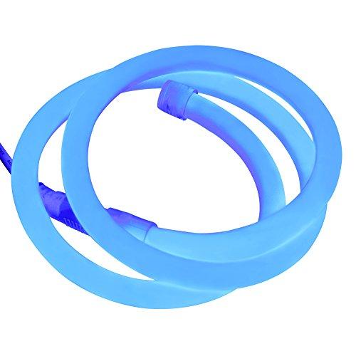 XUNATA 164ft LED Neon Rope Light, DC 12V 2835 Round Tube Flexible 360 Degree LED Neon Strip Lights, 6000 Units LED Waterproof Neon Rope Light for Decoration(Blue)