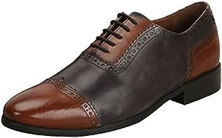 BRUNE Men tan/Grey Dual Tone Quarter Brogue Oxford Formal Shoe