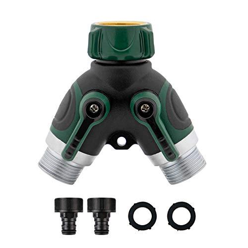 """T24 Premium 2-Wege-Verteiler für Gartenschläuche 3/4\"""" Zoll Wasser Verteiler mit Wasserhahn Adapter, beide Ausgänge regulierbar"""