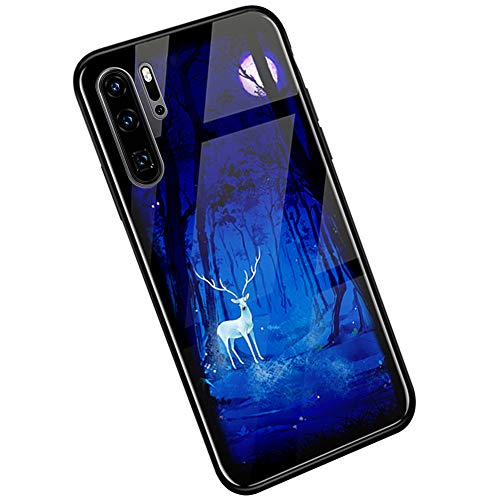 Kompatibel mit Huawei P30 Pro Hülle, Huawei P30 Pro Handyhülle,Ysimee Schutzhülle [Leuchtend Luminous] Gehärtetes Glas Rückseite und TPU Hülle Case Ultra Dünn Kratzfeste Handyhülle, Hirsch Wald