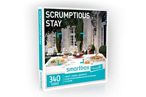 Buyagift One Night Scrumptious Stay Experience Gift Box - 340 overnight stays with a two or three course dinner and breakfast for two people