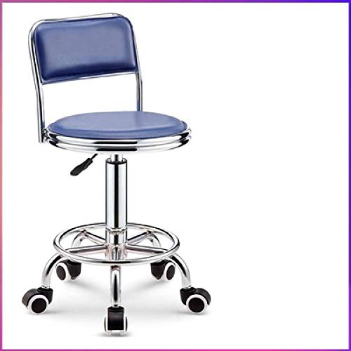 Höhenverstellbarer Hocker mit Rollen,Ergonomischer Hocker mit Blau Kunstleder Bezogener Sitz,höhenverstellbar 75-87 cm,bis 160kg,Schminkhocker mit Lehne für Küchen-Dressing-Hocker Gegenhocker, Verste