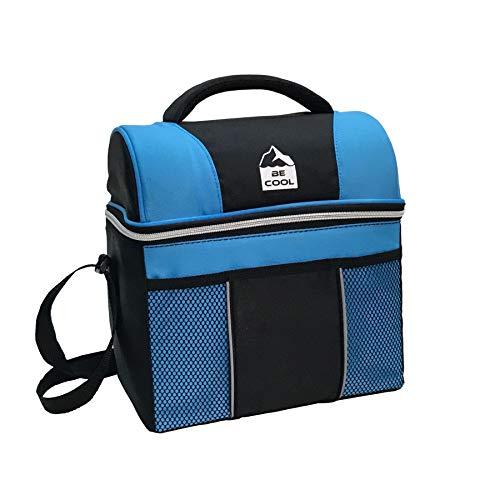 Tonic Studios Limited Bolsa Térmica Porta Alimentos Be Cool Playmate Gripper 12 litros, Poliester, Negra y Azul, 28x21x26