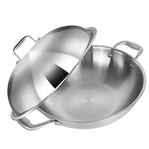 SPNEC Acero inoxidable Wok, Stir-Fry Pan con mango y tapa de acero inoxidable de usos múltiples cacerola del saltar