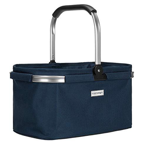 anndora Einkaufskorb 22 Liter Korb Picknickkorb - Hahnentritt Blau