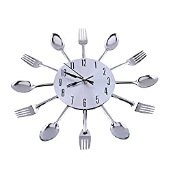 EBTOOLS Vintage Wall Clock, Large 3D Forks Spoons Wall Clock Mirror Surface Silver Creative Modern Design Cutlery Kitchen Utensil Wall Clock DIY Home Decoration Gift