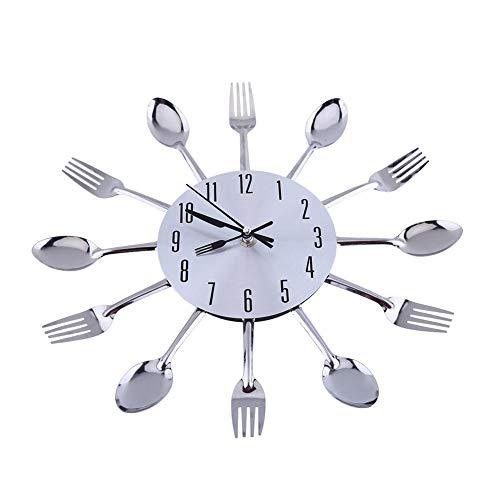 13 pulgadas Cocina de acero inoxidable cuchillería Utensilio reloj de pared cuchara horquilla reloj interior para decoración del hogar, astilla