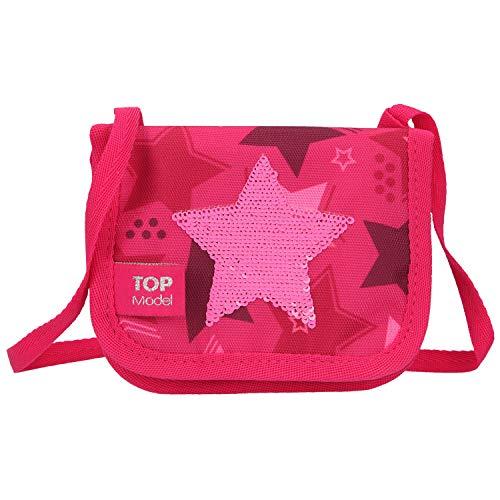 Depesche 10721 Brustbeutel, TOPModel Stern aus Streichpailletten, pink, ca. 10 x 13 x 2 cm