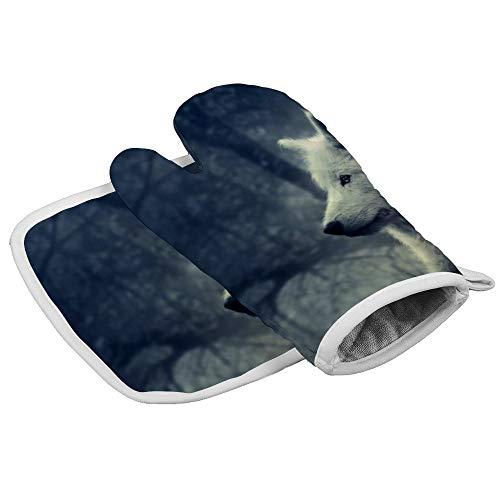 N/A Isolatie handschoenen Witte Wolf Schilderij Behang Professionele hittebestendige Oven Manten, Inclusief geïsoleerde handschoenen en geïsoleerde vierkante pads