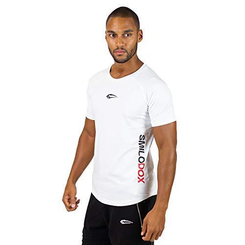 SMILODOX Slim Fit T-Shirt Herren \'Slim Fit 1.0 \' | Kurzarm | Sport Fitness Gym & Training | Trainingsshirt - Sportshirt, Größe:S, Farbe:Weiß