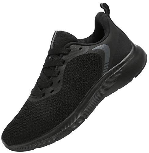 DAFENP Laufschuhe Atmungsaktiv Turnschuhe Leichte Schnürer Sportschuhe Hallenschuhe Gym Fitness Sneaker für Herren Damen XZ721-AllBlack-EU42