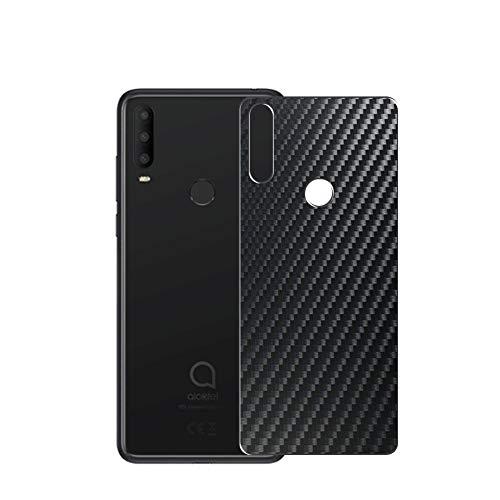 VacFun 2 Piezas Protector de pantalla Posterior, compatible con Alcatel 3X (2020), Película de Trasera de Fibra de carbono negra