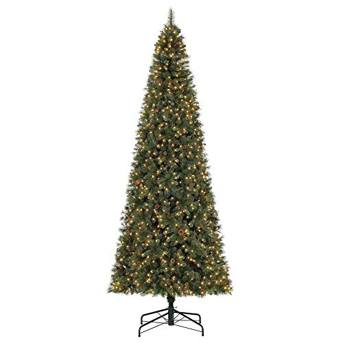 Home Heritage Albany 12 Foot LED White Light Artificial Pine Christmas Tree with Pine Cones & Stand