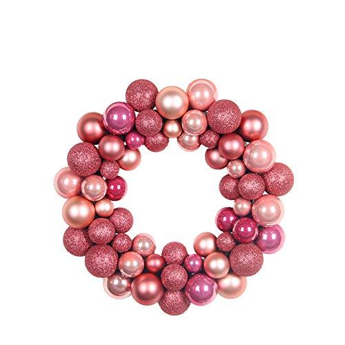 GLITZFAS Weihnachtskranz, Kugelkranz Türkranz aus 55 Weihnachtskugeln Weihnachtsdeko Deko-Kranz Weihnachten Thema (Pink)