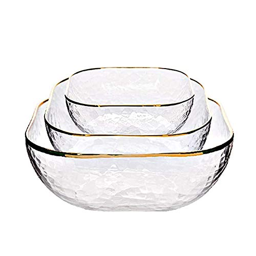 APXZC 3Pcs Creative Phnom Penh Glass Bowl, Household Dessert Plate, Lead-Free Material Crystal Clear Round and Wear-Resistant, for Home Kitchen Fruit Salad