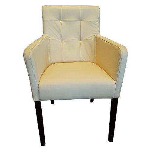 Quattro Meble Creme Echtleder Esszimmerstühle Massivholz Stühle David Arm Pik Lederstühle Sessel mit Armlehnen Echt Leder Esszimmer Stuhl