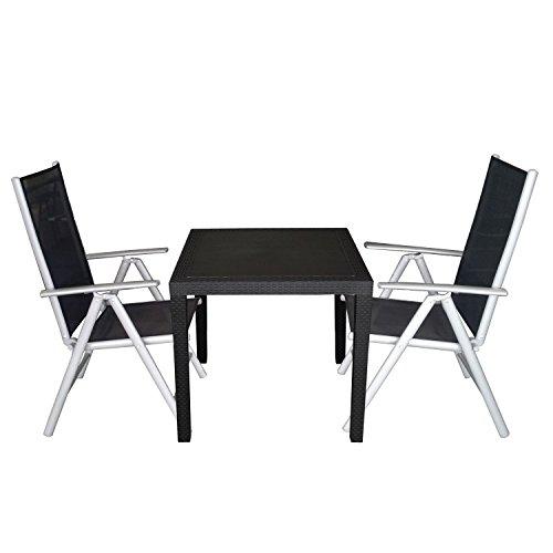 Multistore 2002 3 pièces Garniture du Meuble du Balcon en Plastique Apparence Rotang 79x79cm Dos Haut avec Housse Textile 7 Fois Réglable Argent