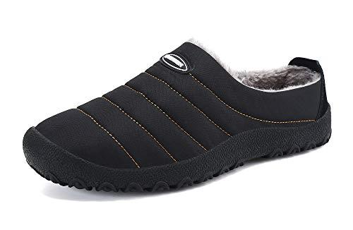 Gaatpot Femmes Hiver Chaud Classique Chausson Hommes Coton Peluche Doublure Accueil Pantoufle Intérieur et Extérieur Chaussures,Noir,38 EU