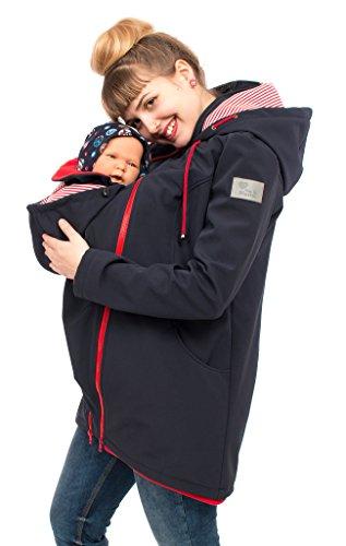 Viva la Mama Umstandsjacke mit Baby Trageeinsatz Regenjacke Windjacke Babytragen Softshell Jacke Baby im Tragetuch Umstandsmode Damen Schwangerschaftsjacke Allwetter - MELLORY Marine blau/rot - S