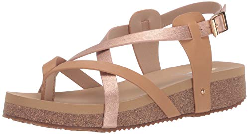Volatile Women's 7 Point Thong with Ankle Strap Wedge Sandal, Rose Gold, 7