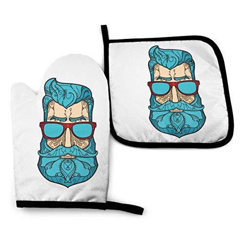 Juegos de guantes y agarraderas para horno Guantes para horno Estilo Gorgeous Green Hair Gafas de sol Hombre Soportes para ollas resistentes al calor para cocina Barbacoa Cocinar Hornear Asar a la p
