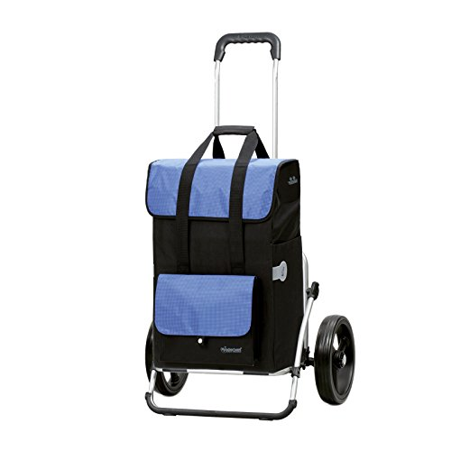 Andersen Einkaufstrolley Royal XXL und 43 Liter Einkaufstasche Vektor schwarz/blau mit Kühlfach Einkaufswagen Gestell aus Aluminium klappbar