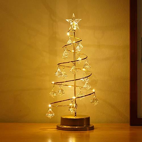 Lixada Weihnachtsbaum Licht, Weihnachten führte Baum Licht Home Party Hochzeitsfest Tabletop Dekor warmweiße dekorative Lampe mit Kristall Anhänger