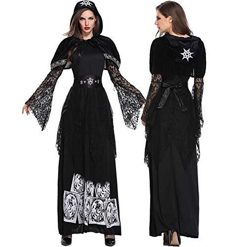 Edelehu Vampiro Disfraz De Halloween Túnica Capa con Capucha Capa con Capucha Capa Medieval Equipo De Fiesta con Capucha,XL