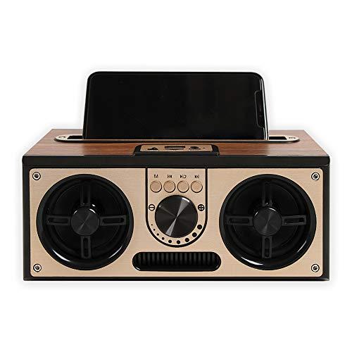 SEVIZ Retro Wireless Bluetooth Speaker, 20W Mono Sound, Bluetooth 5.0 Device with 4 Hours' Playback, Portable Speaker, for Home, for Travel, FM Radio, Wooden Speaker