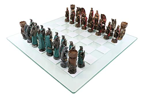 Ebros Gift Colorful Hand Painted Medieval Legend of King Arthur Merlin The Wizard and Dragons Resin Chess Pieces with 15' by 15' Checkered Frosted and Transparent Glass Board Set Gaming Board