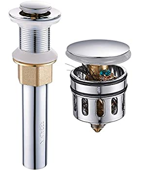 REGALMIX Pop Up Drain Bathroom Faucet Vessel Vanity Sink Drain Stopper Built-In Anti-Clogging Strainer Polished Chrome without Overflow,Fits Standard American Drain Hole 1-1/2 to 1-3/4 R085A-CP…