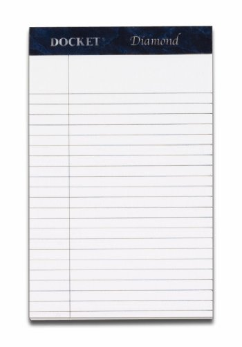 TOPS Docket Diamond 100% Recycled Premium Stationery Tablet, 5 x 8 Inches, Perforated, White, Narrow Rule, 50 Sheets per Pad, 4 Pads per Pack (63981)