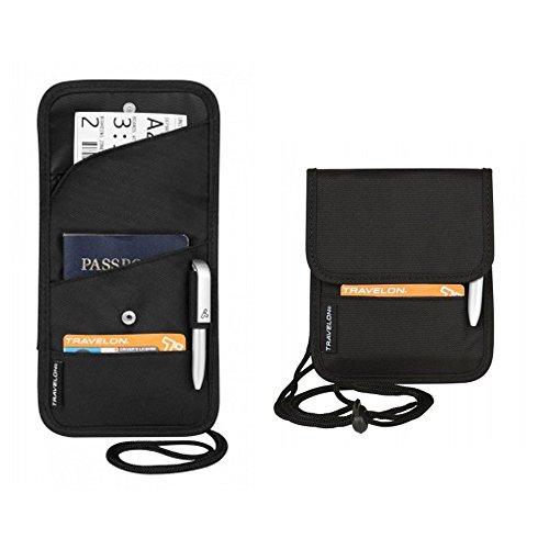 New Neck Wallet ID Passport Boarding Pass Holder Black Travel Organizer Travelon